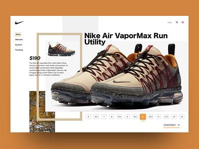 Nike Fall FLAVOR colorway uidesign landing page shoes nike graphics branding ui design