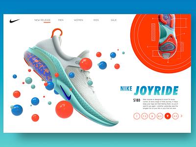 Take your Nike's for a JOYRIDE rendering trending ui ui  ux graphics vector shoes color uidesign nike landing page illustration branding ui design