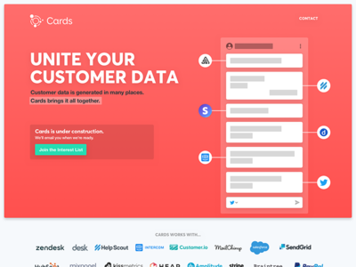Cards landing page