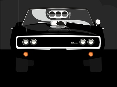 The Fast and the Furious Dom's Charger muscle car american dodge film vector poster movie design cars pop art flat digital illustration