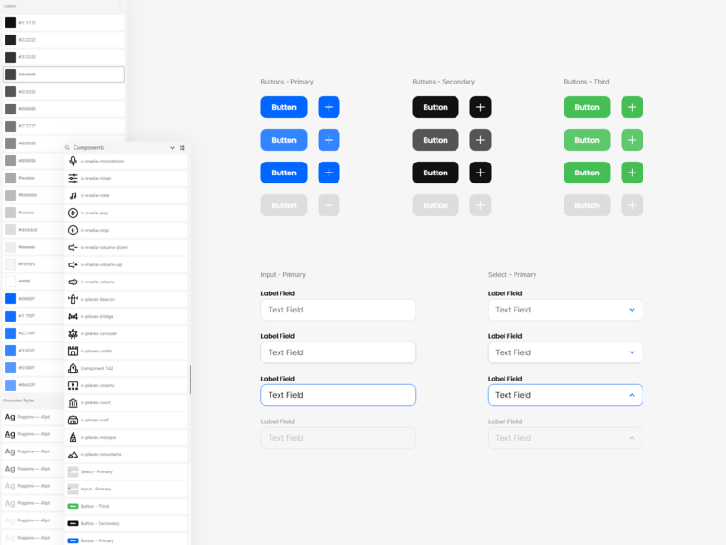 Design System - Adobe XD - v2 adobe xd  photoshop  ui ux ui  ux uidesign interface ui iconset colors select forms input buttons components icons design system freebie adobe xd adobexd