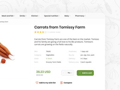 Fresh eCommerce Layout - Product Detail components store design uiux ui button select farm bio wishlist menu cart template shopify woocommerce ecommerce product detail product page icons figmadesign figma
