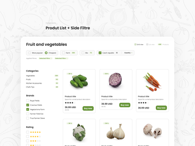 Fresh eCommerce Layout - Product List + Filtre rating categories filters product listing ui sorting filtre ecommerce shop ecommerce business fresh colors fresh design vegetable figmadesign components ecommerce design ecommerce app products figma ecommerce product list