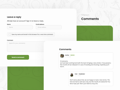 Fresh eCommerce Layout - Comments uiux ui design web ui components web components website forms inputs admin chat comments figma