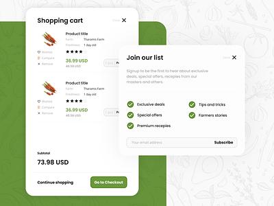 Fresh eCommerce Layout - Modals uidesign uiux ui design ecommerce business ecommerce shop ecommerce design ux modal design modals checkout figma shopping cart ui ecommerce