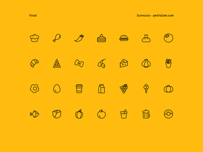 Food - Iconuioo minimal icons line icons iconset food icon icon pack icon set icons icon food and drink restaurant icons restaurant pizza vegetable icons food icons vegetable milk garlic pasta burger food