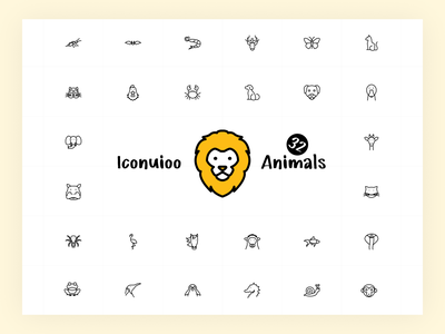 Iconuioo - Animals design iconography icon line icons figma gumroad package icon package app icon web icon illustration icon pack icon set stroke minimal line sketch icons