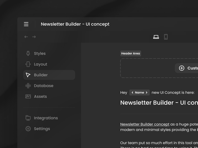 Newsletter Builder - UI concept tool emailing ui ux icons builder template email newsletter dashboard ui interface user interface icon