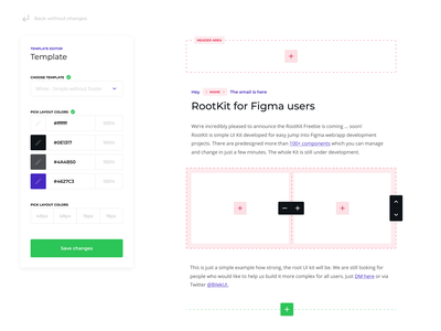 Email editor - Root UI Kit - Example 1 freebie ux web styles figma content email campaign ui pack kit dailyui system designsystem layout editor email