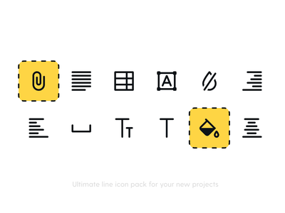 Editor Icon Pack icon attachament colorpicker line art line icons minimalism minimal iconography icons pack icon set icons illustrations