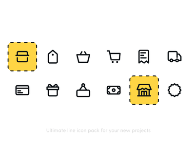 eCommerce Icon Pack flat icon icons line icon gift shop app commerce store tag discount badge shipping delivery invoice credit card card money cart ecommerce