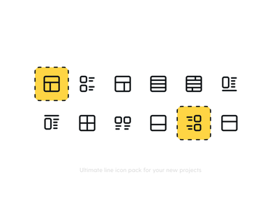 Layout Icon Pack section header footer preview ux image alignment ui webdesign web