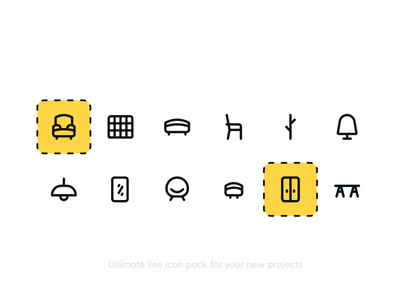 Furniture Icon Pack iconset icon pack icon set figma ui icons line icons furniture app freebies freebie free icons icon icons light lamp sofa bed