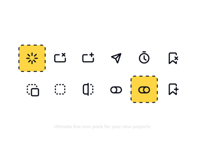 Actions 5 Icon Pack icons pack icon set freebie icons iconography line icons icon timer tabs drag and drop tags switch loader