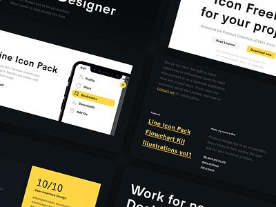 Petrbilek.com - Launched blogger blog personal site site freelance designer dark yellow branding brand typography about me ui personal branding assets portfolio design webflow figma