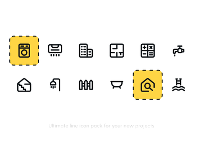 Real Estate Icon pack line icons vector illustration iconography icons pack iconset freebie icon freebie line icon icons flat fence water pool shower search house