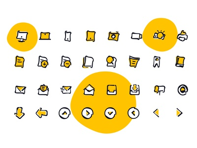 Creative Icon Pack icon set icons iconography icon creative  design illustrations yellow assets premium book arrows email camera divce creative line icons