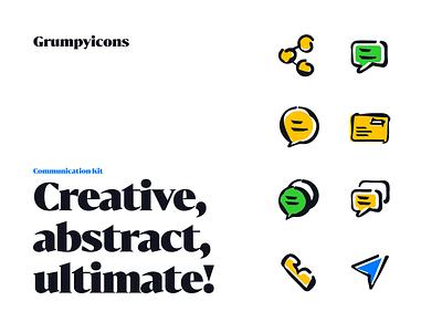 Grumpyicons - Communication Kit icon vector illustration line icons icons icon pack iconography icons design stroke brush handdraw crazy iconset
