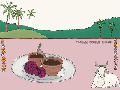 All about coffee (wall calendar) flower madras cup animal pink landscape drawing coffee india stationery wall calendar design illustration