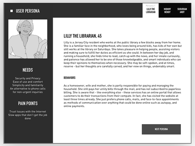 user-persona sample uiux. minimalist desktop webapp web inspiration layout template userpersona