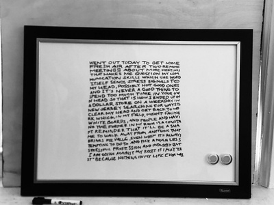 white board writing typography. storytelling handwritten copywriting narrative handwriting