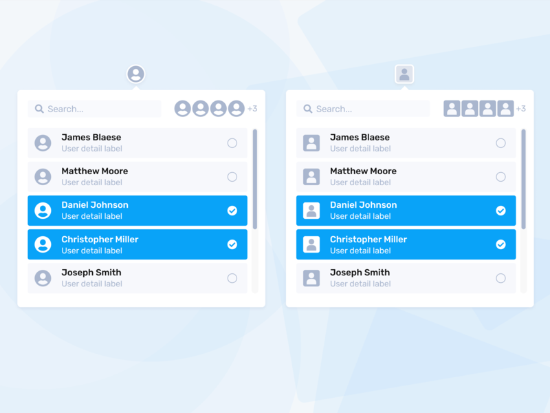 Rounded or squared avatars avatar icons selector picker user interface panel