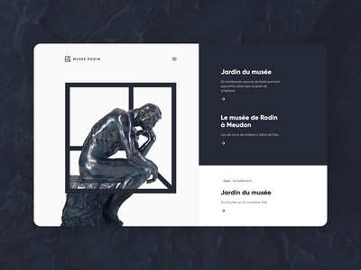 Rodin Museum concept website art interface minimal design ux ui museum