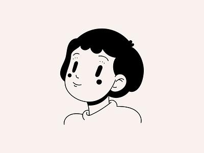 01 design character white black black and white girl illustrator illustration