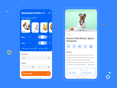 Booking app. Reserve a hotel for your pet 🐶 hotel app visual design interaction emoji outline icon dogs mobile app ui booking mobile ui