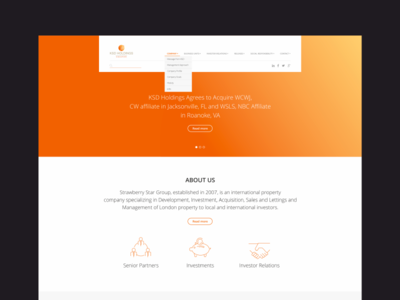 Homepage For KSD Holdings Singapore holdings singapore website web ux ui page layout landing finance business orange
