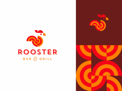 Logo for Rooster Bar & Grill food nonveg branding pattern logo identity font colors brand