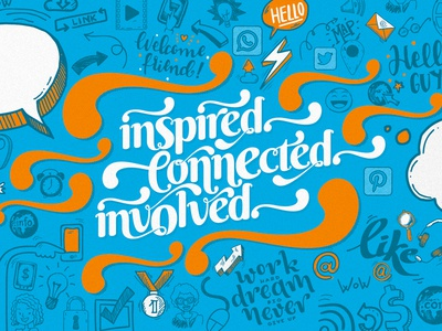 Illustration for IT. Inspire. Connected. Involved involve connect inspire vector ui company tech graphics motion illustrations