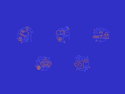 Illustrations → Icons blue and orange line icons linear icons lineart creative icon icons design icons pack technology design iconography icons set illustration ui