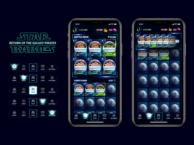 Star Babies - Mobile Game UI battle deck mobile ui design pirates illustration game art star wars design game design mobile game ux ui game