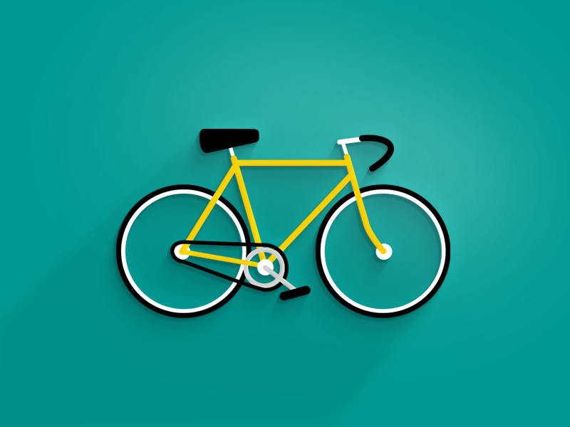 Just a bike bike bicycle icon flat simple shadow yellow black white illustration
