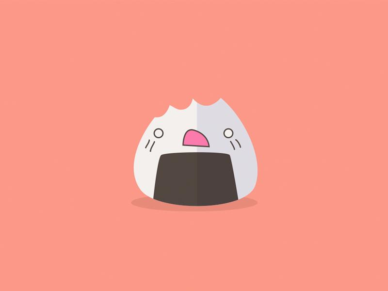 Onigiri onigiri japanese food flat minimal icon illustration minimalistic