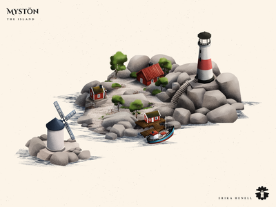 Mystön - Swedish Archipelago Island 2d art myst game art illustration design assets game assets art game asset island archipelago nature architecture houses lighthouse windmill