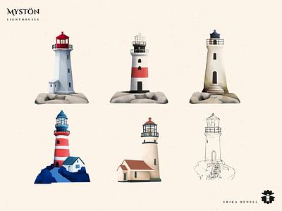 Mystön - Lighthouses 2d art myst archipelago game art illustration design game assets game architecture art lighthouse lighthouses