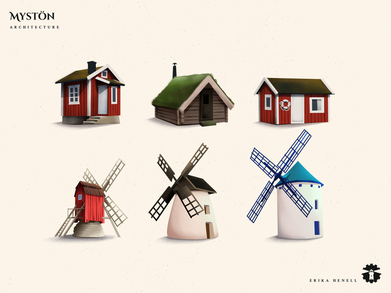 Mystön - Architecture 2d art myst boat house assets game assets game art design illustration art architecture swedish house houses cabin windmill