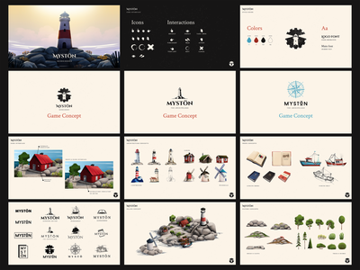 Mystön - Game Concept concept art logotype logo game assets assets ui interface architecture game art game concept style guide illustration
