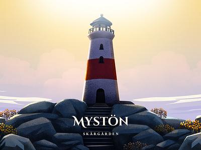 Mystön - Key art concept art 2d art 2d lighthouse archipelago illustration island