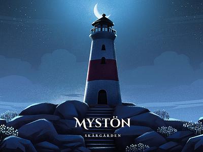 Mystön - Night island archipelago mystic night concept art lighthouse art 2d art illustration
