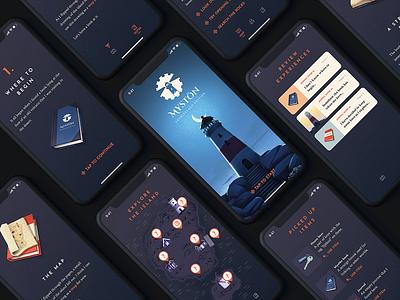 Mystön Mobile Game - Night Mode interface night mode dark mode myst island mobile ux ui mobile game game app design illustration