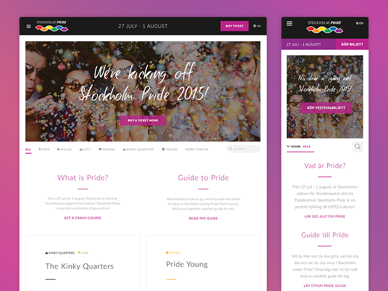 Stockholm Pride Festival 2015 (WIP) stockholm pride lgbt festival event website responsive web stockholm pride