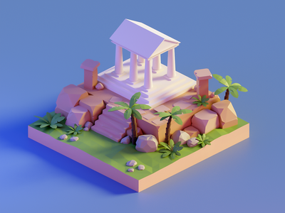 Low poly temple diorama illustraion render lowpolyart lowpoly low poly isometric greek temple temple blender 3d