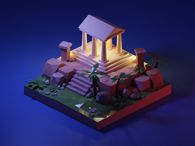 Low poly temple at night night render lowpolyart lowpoly low poly isometric illustration temple greek temple blender 3d