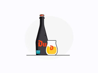 Duvel Barrel Aged. dribbble djif glass bottle vector beer alcohol rum illustration glass duvel design