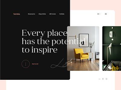 Showroom Design Concept grid layout interior furniture showroom webdesign cards design