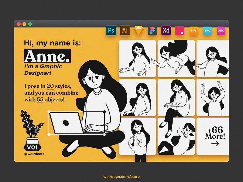 Character Set V01 Anne blog article banner portfolio development vector scene onboarding landing page illustration website flat character