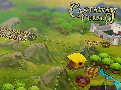 Castaway Curse MAP gamedsgn fort island pirate treasure building arena illustration gameboard kickstarter map game